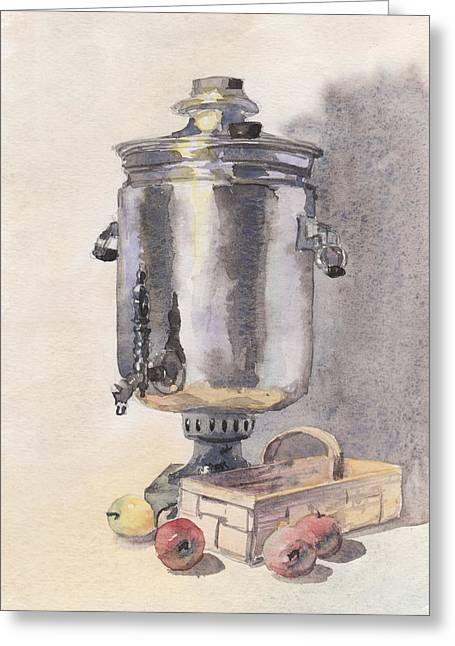 Green Day Paintings Greeting Cards - Still life with a Samovar Greeting Card by Masha Batkova