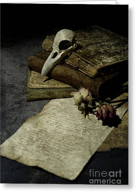 Bone Pile Greeting Cards - Still life with a skull Greeting Card by Jaroslaw Blaminsky