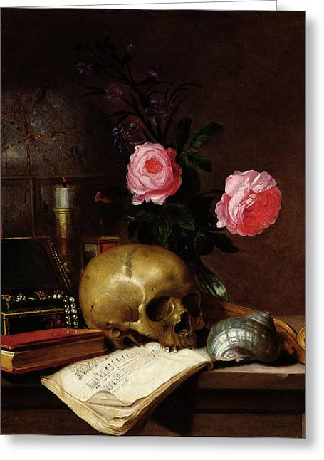 Nature Morte Greeting Cards - Still Life With A Skull Oil On Canvas Greeting Card by Letellier