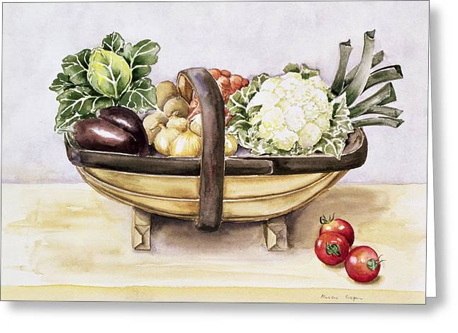 Still Life With Fruit Greeting Cards - Still life with a trug of vegetables Greeting Card by Alison Cooper