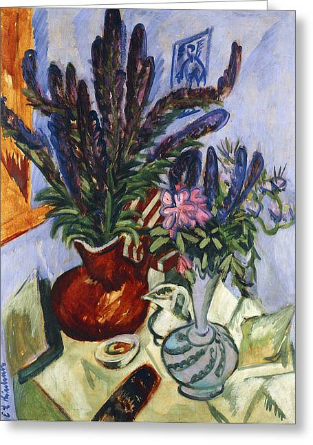 Indoor Still Life Paintings Greeting Cards - Still Life with a Vase of Flowers Greeting Card by Ernst Ludwig Kirchner