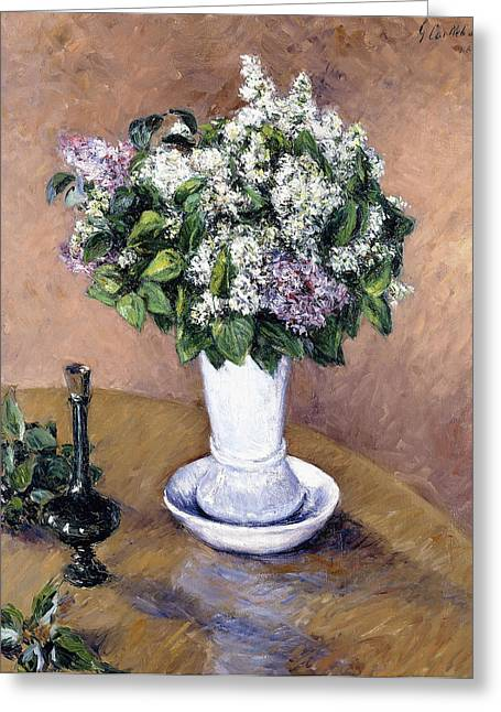 Vase Of Flowers Greeting Cards - Still Life with a Vase of Lilac Greeting Card by Gustave Caillebotte