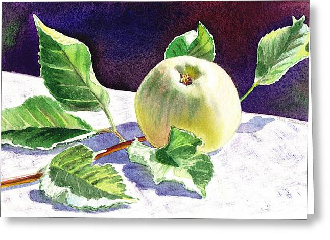 Yellow Apples Greeting Cards - Still Life With Apple Greeting Card by Irina Sztukowski