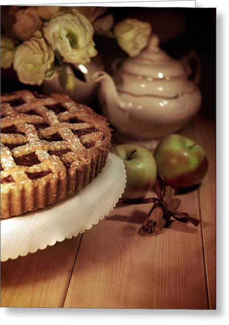 Shadows On Apples Greeting Cards - Still life with apple pie Greeting Card by Jaroslaw Blaminsky