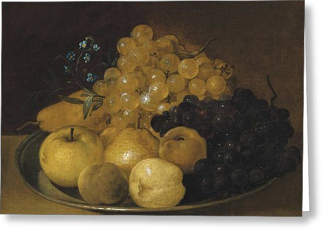 Still-life With Grapes Greeting Cards - Still Life With Apples And Grapes On A Plate Greeting Card by Celestial Images