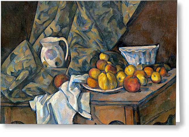 Pear Prints Greeting Cards - Still Life with Apples and Peaches Greeting Card by Paul Cezanne