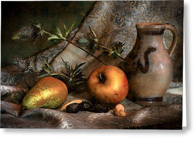Still Life With Green Apples Greeting Cards - Still life with apples and pears and thistle Greeting Card by Hugo Bussen
