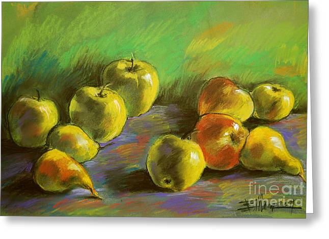 Colorful Pastels Greeting Cards - Still Life With Apples And Pears Greeting Card by Mona Edulesco