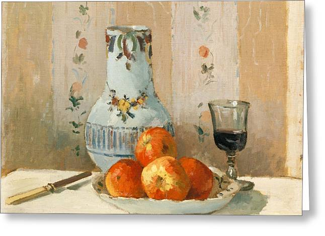 Still Life With Pitcher Paintings Greeting Cards - Still Life with Apples and Pitcher Greeting Card by Camille Pissarro