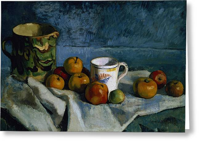 Jugs Greeting Cards - Still Life with Apples Cup and Pitcher Greeting Card by Paul Cezanne