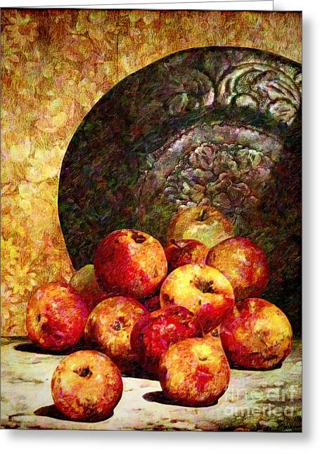 Harvest Art Digital Art Greeting Cards - Still Life with Apples Greeting Card by Lianne Schneider