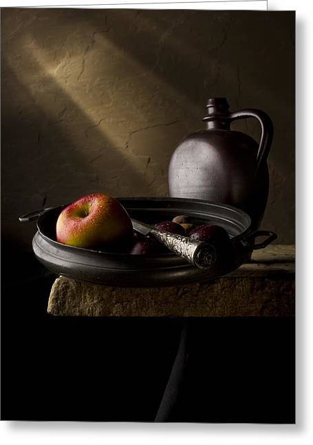 Flagon Greeting Cards - Still Life with Apples Plums and Flagon Greeting Card by Jon Wild