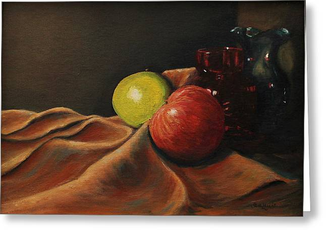Glass Vase Greeting Cards - Still Life with Apples Greeting Card by Sue Lewis