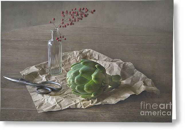 Scissors Greeting Cards - Still life with artichoke and red berries Greeting Card by Elena Nosyreva