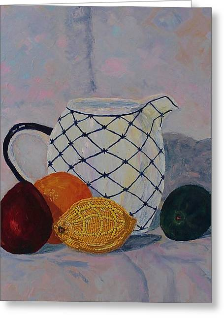 Pitcher Mixed Media Greeting Cards - Still-life with Beaded Lemon Greeting Card by Ann Laase Bailey