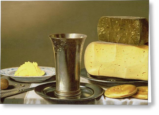 Cheeses Paintings Greeting Cards - Still life with Beaker Cheese Butter and Biscuits Greeting Card by Floris van Schooten