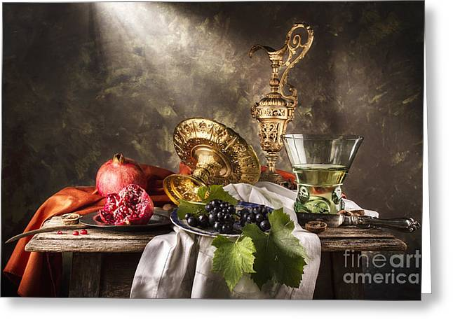Table Wine Greeting Cards - Still Life with Berkermeyer and Pomegranates Greeting Card by Jon Wild