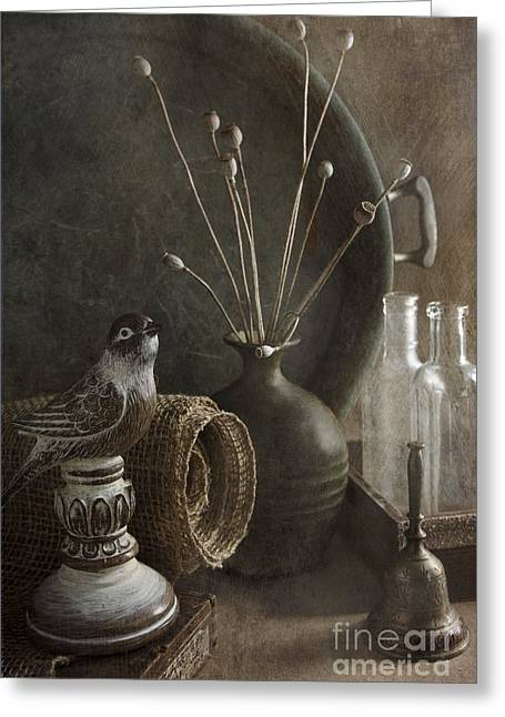 Bird Bottle Greeting Cards - Still Life With Bird Greeting Card by Elena Nosyreva