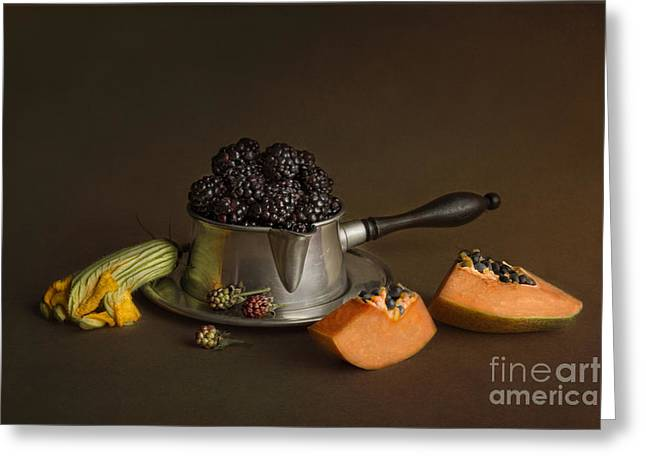 Still Life With Blackberries And Papaya Greeting Card by Elena Nosyreva