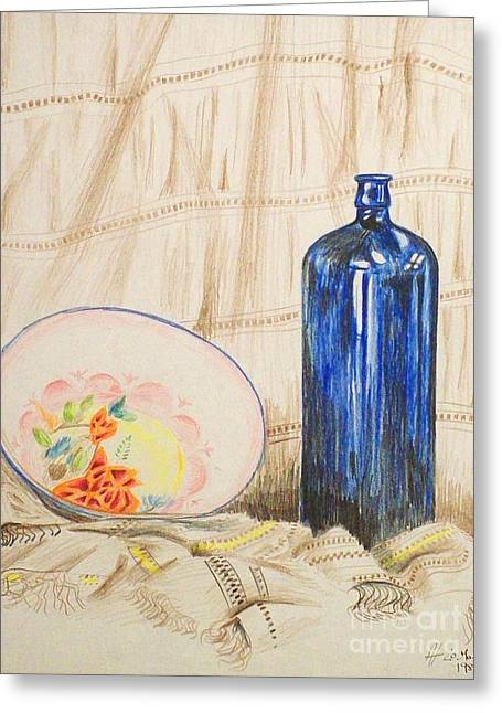 Still-life With Blue Bottle Greeting Card by Alan Hogan