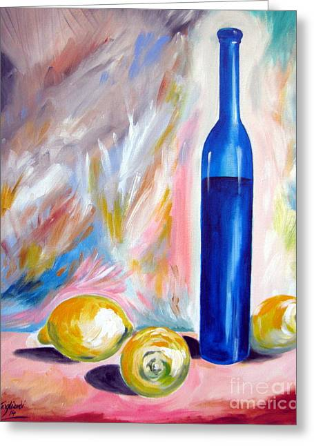 Limoni Greeting Cards - Still Life with Blue Bottle and three lemons Greeting Card by Roberto Gagliardi