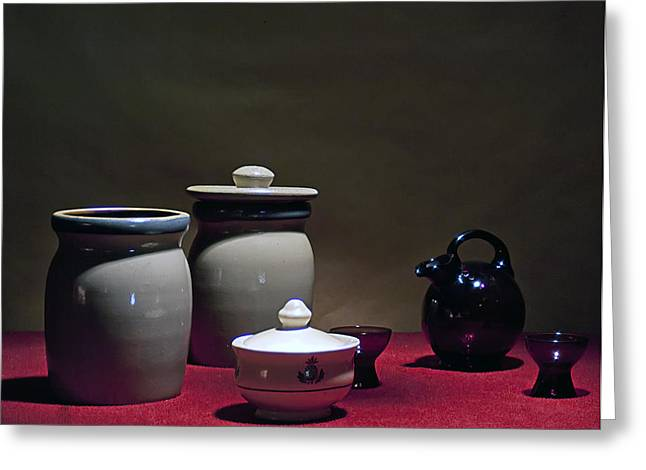 Still Life with Blue Pitcher Greeting Card by Larry Olsson