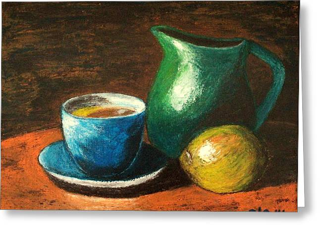 Old Pitcher Paintings Greeting Cards - Still Life with Blue Tea Cup Greeting Card by Ela Jamosmos