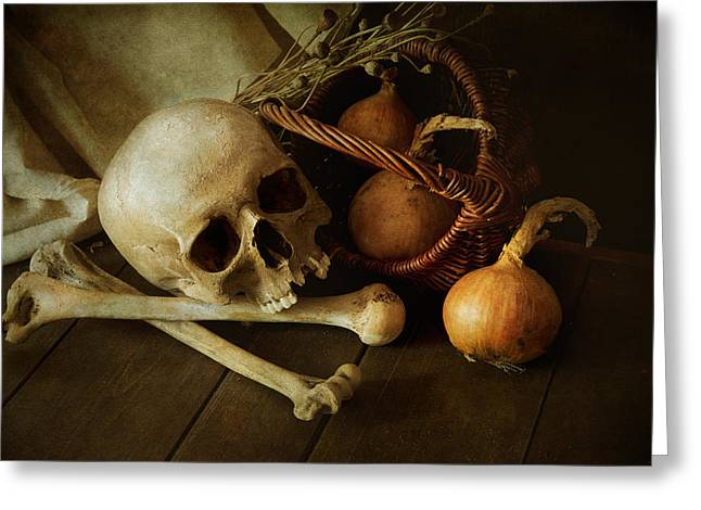 The Wooden Cross Greeting Cards - Still life with bones and onions Greeting Card by Jaroslaw Blaminsky