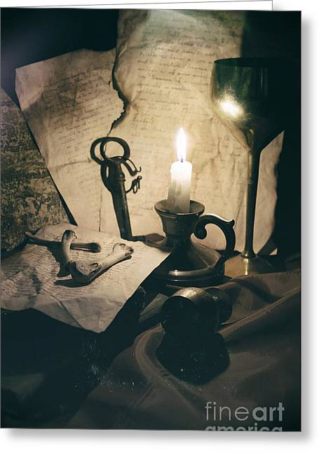 Vintage Greeting Cards - Still Life With Bones Rusty Key Wine Glass Lit Candle And Papers Greeting Card by Jaroslaw Blaminsky