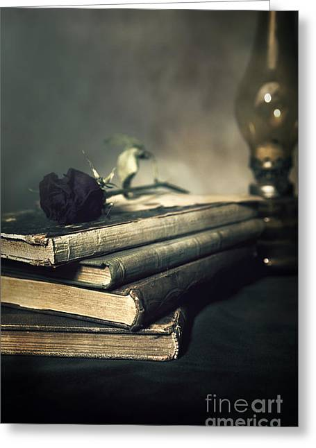 Glass Table Reflection Greeting Cards - Still life with books and roses Greeting Card by Jaroslaw Blaminsky