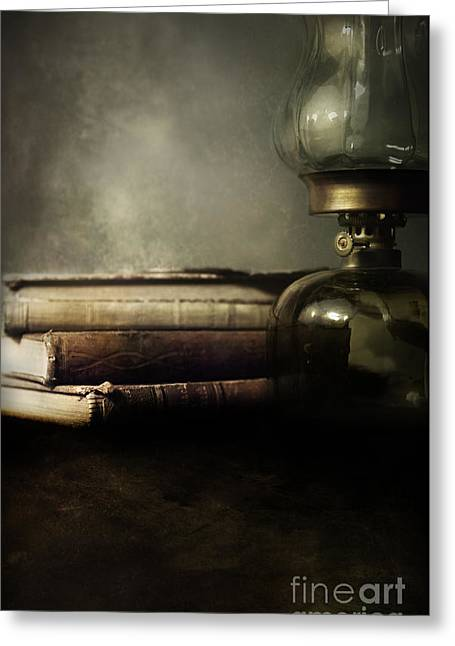 Glass Table Reflection Greeting Cards - Still life with books and the lamp Greeting Card by Jaroslaw Blaminsky