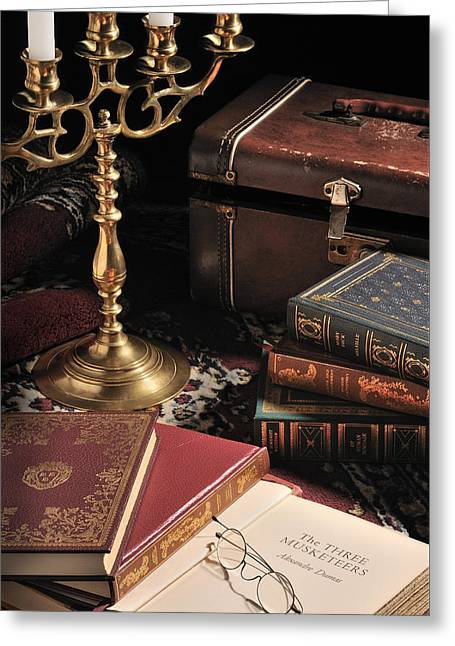 Decor Photography Pyrography Greeting Cards - Still Life with Books Greeting Card by Krasimir Tolev