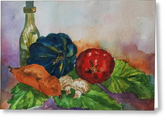 Purple Mushrooms Greeting Cards - Still Life with Bottle Greeting Card by Ellen Levinson