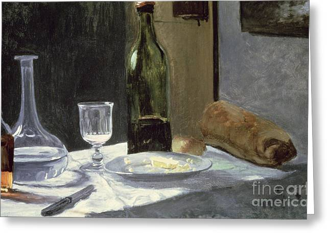 Decanter Greeting Cards - Still Life with Bottles Greeting Card by Claude Monet