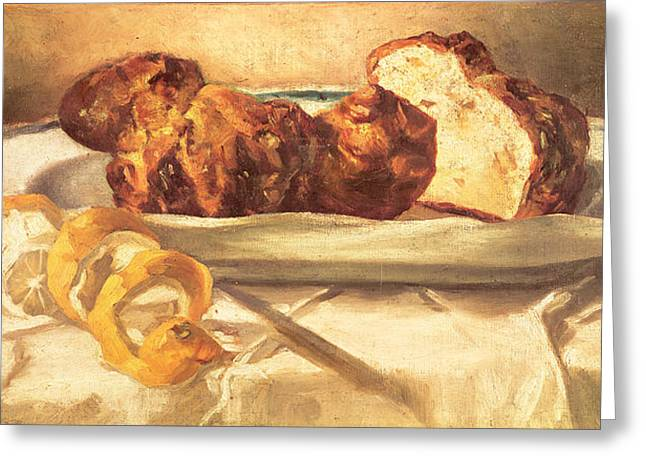 Nature Morte Greeting Cards - Still Life With Brioches And Lemon, 1873 Oil On Canvas Greeting Card by Edouard Manet