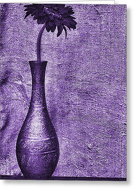 Modern Photographs Greeting Cards - Still Life with Camomile in Violet Greeting Card by Frida  Kaas