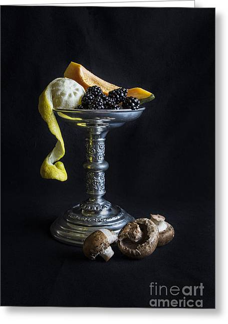 Tabletop Greeting Cards - Still Life With Candle Holder Greeting Card by Elena Nosyreva