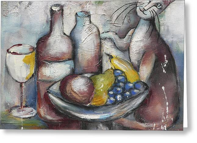Bunch Of Grapes Greeting Cards - Still Life with Cat Greeting Card by Jutta Maria Pusl