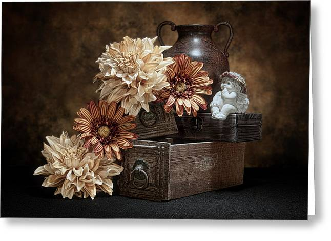 Wooden Box Greeting Cards - Still Life with Cherub Greeting Card by Tom Mc Nemar