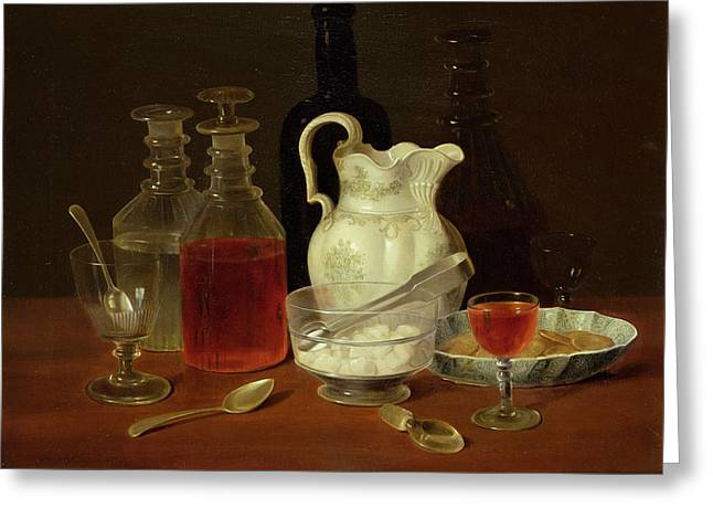 Fine Bottle Greeting Cards - Still Life With Decanters Greeting Card by J Rhodes