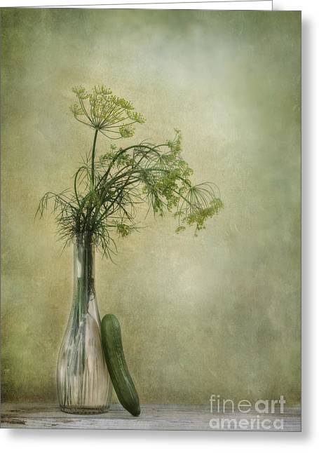 Harvesting Greeting Cards - Still life with Dill and a cucumber Greeting Card by Priska Wettstein