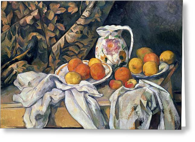 Ceramic Greeting Cards - Still life with drapery Greeting Card by Paul Cezanne