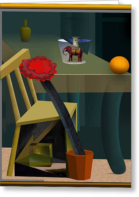Interior Still Life Drawings Greeting Cards - Still Life with Elephant Greeting Card by Guy Ciarcia