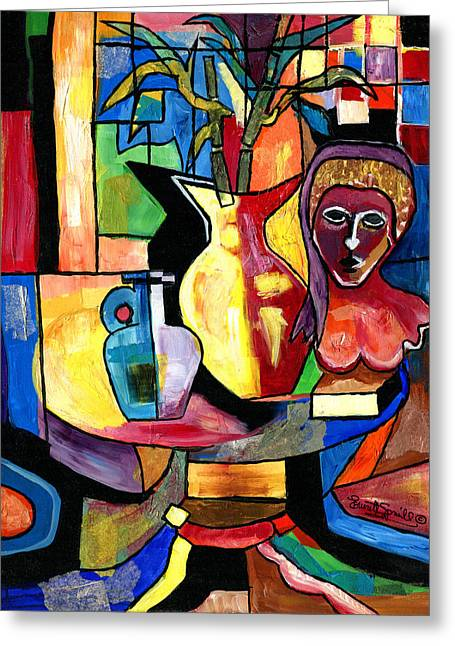 Wynton Marsalis Mixed Media Greeting Cards - Still Life with Female Bust  Greeting Card by Everett Spruill