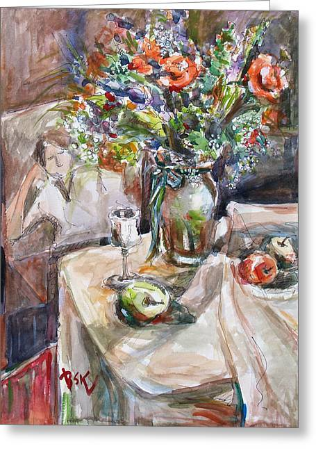 Becky Kim Mixed Media Greeting Cards - Still Life with Figural Background Greeting Card by Becky Kim