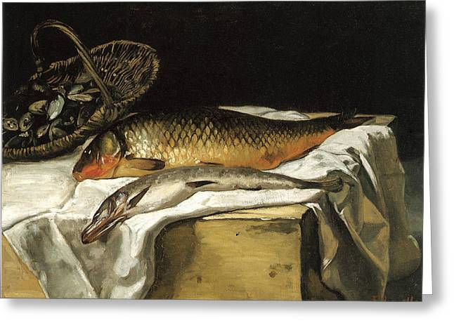 Recently Sold -  - Still Life With Fish Greeting Cards - Still Life with Fish Greeting Card by Frederic Bazille