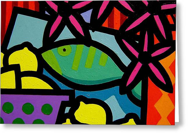 Lemon Art Paintings Greeting Cards - Still Life With fish Greeting Card by John  Nolan