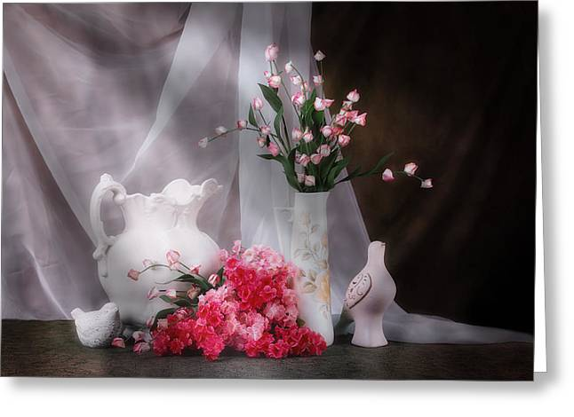 Still Life With Flowers And Birds Greeting Card by Tom Mc Nemar