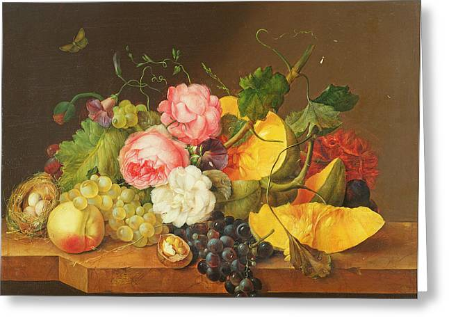 Melon Greeting Cards - Still Life With Flowers And Fruit, 1821 Oil On Panel Greeting Card by Franz Xavier Petter