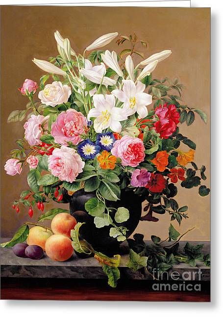 European Fruit Greeting Cards - Still Life with Flowers and Fruit Greeting Card by V Hoier